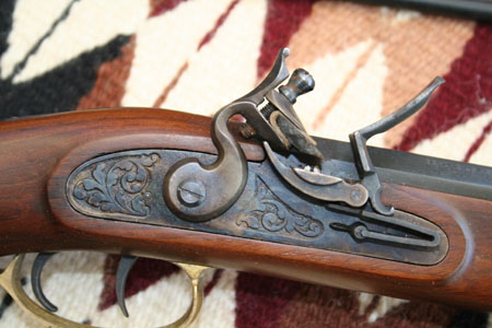 Close detail of a flintlock ignition